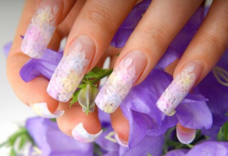 Naildesign Gelnägel Malerei mit Blumen